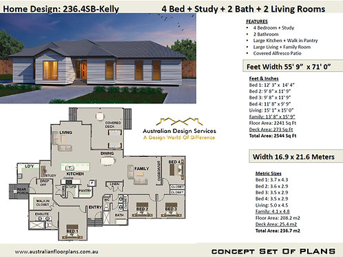 4 Bedroom House Plans Design 236SB-kELLY
