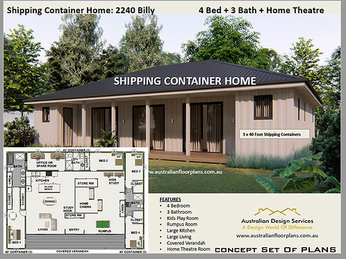 4 BEDROOM Shipping Container Home home: 2240 Billy | Concept Home Plan