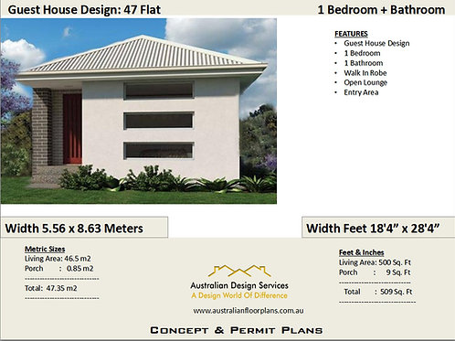 47 Flat | Small 1 Bed House Plan- 47.35 m2 500 Sq.Foot | House Plan Set-For Sale
