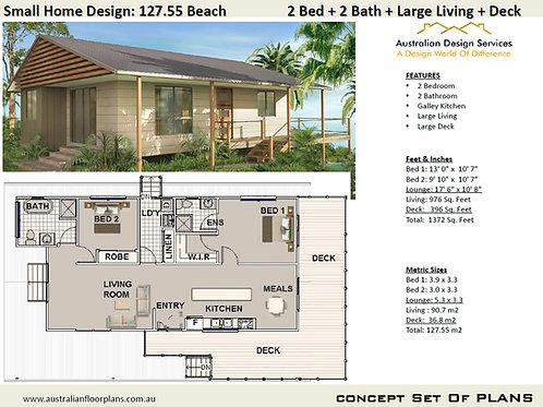 Beach 2 Bedroom House Plan:90.7 m2- 976 Sq. Foot