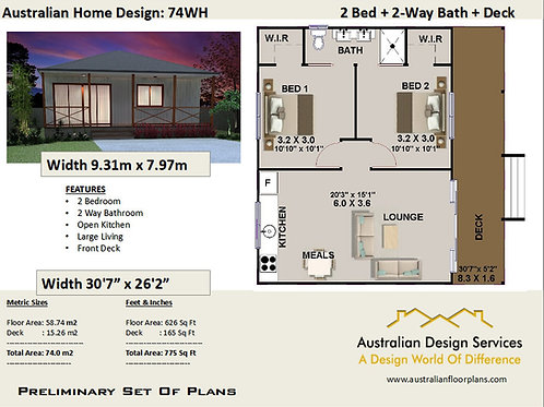 74 WH-Timber Floor 2 Bed House Plan:82.7 m2 | Preliminary House Plan Set- Buy