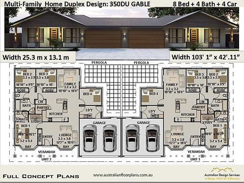 Multi-Family  Home Duplex Design 350 DU Gable | 8 Bed + 4 Bath + 4 Car Garage