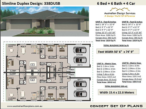 Duplex House Design 338 DUSB | 6 Bedroom + 6 Bath 4 Car Garage