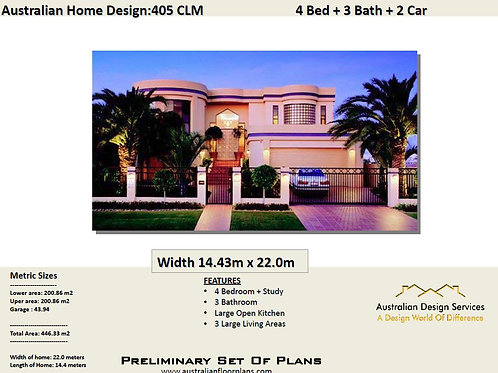 405 CLM | 2 storey house design with balcony 446.0 m2 | Preliminary House Plan