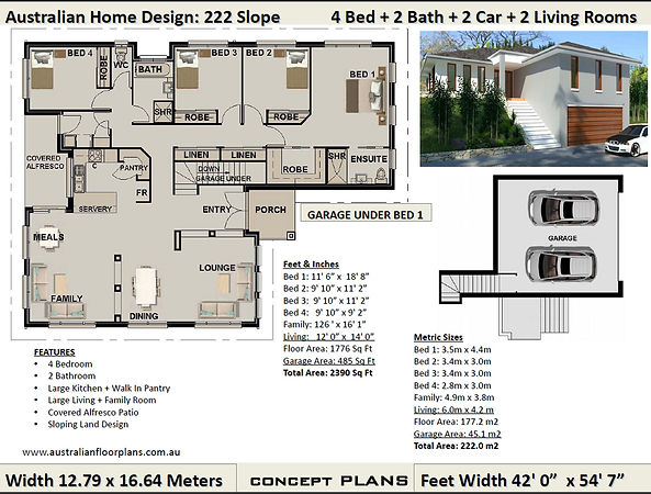 Sloping land 4 bed house plan