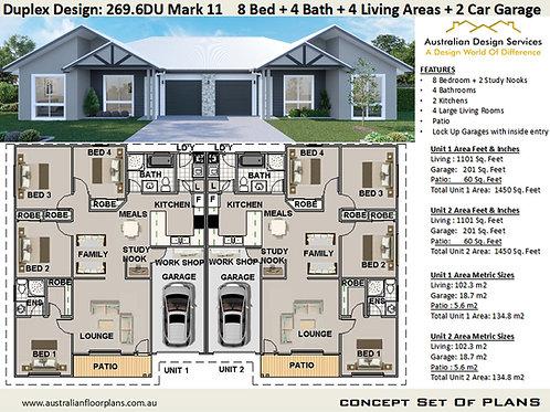 8 Bedroom 4 Bathroom !  duplex house plans  | Duplex Design: 269.6DU Mar