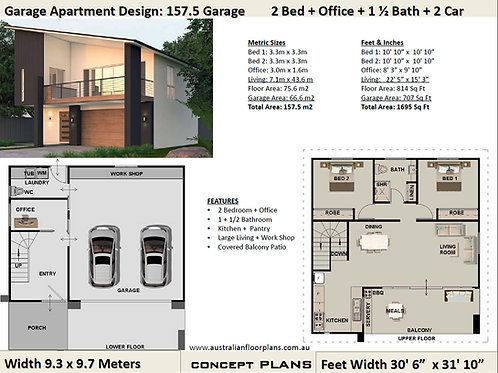 Small House Plan 2 Bedroom + Office 157.5