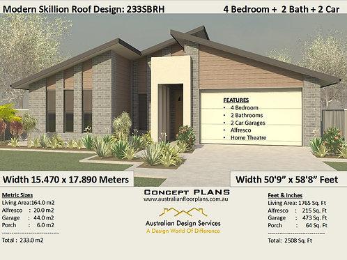4 Bed House Plan + Garage Skillion Roof Design: 233.0 m2 2508 Sq Foot | 233SBRH-