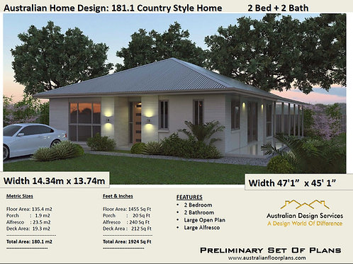 181.1 Homestead - 2 Bed + 2 Bath House Plan:93.6 m2 | Preliminary House Plan Set