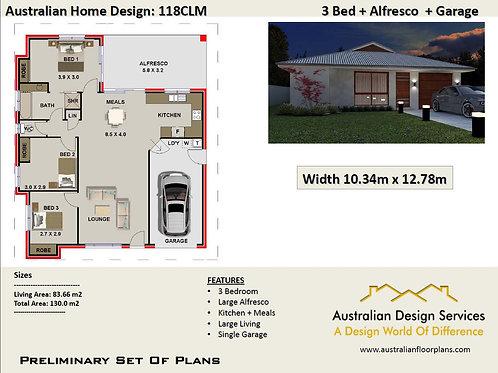 118 CLM Australian 3 Bedroom Floor Plan : 130.0 m2 | Preliminary House Pl
