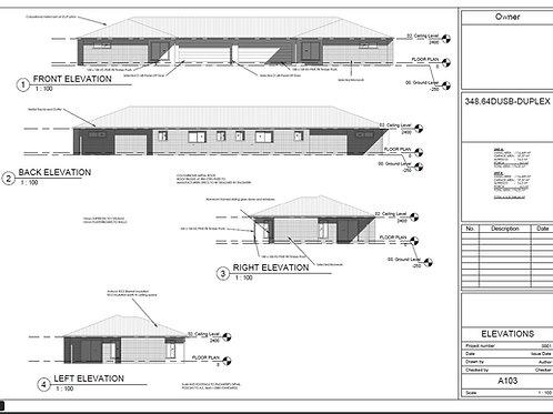 Duplex  House Plan: 348.64SBDU - For Sale