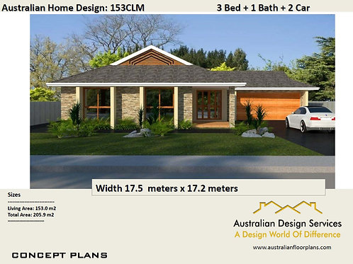 153CLM - 3 Bed + Garage Plan:205.9 m2 | Preliminary House Plan Set