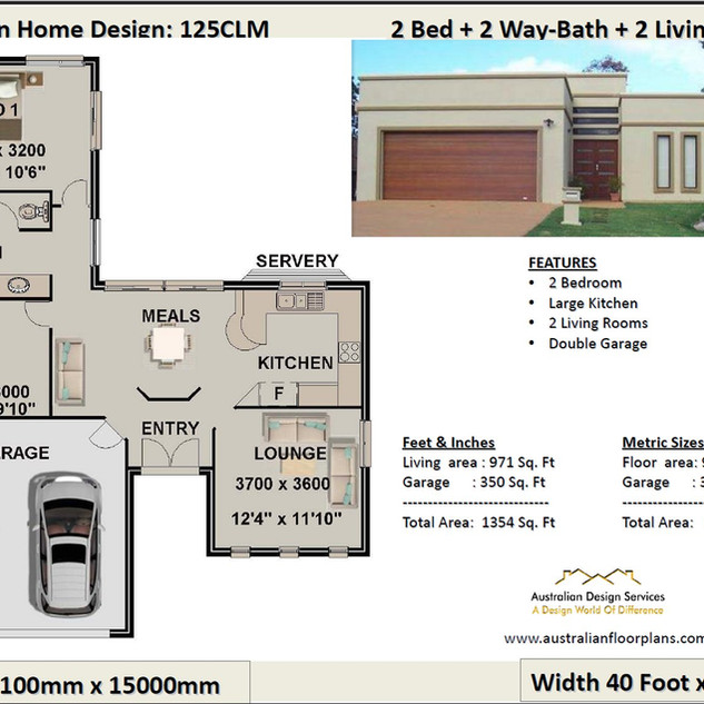 125clm- 2 Bedroom House Plan