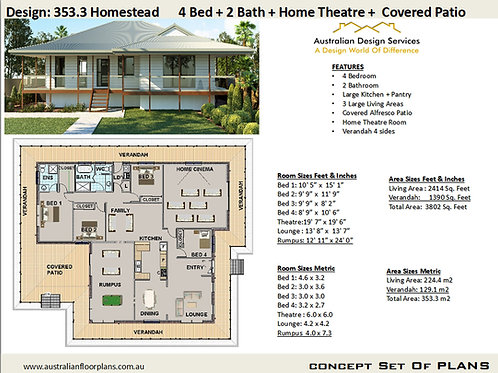 House Plans Country Style Modern 4 bedroom : 353.3 Homestead