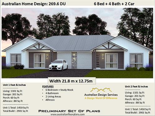 269.6du - 6 Bed + 4 Bath + 2 Cars Duplex Design Australia - Concept Plans