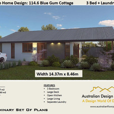 3 Bed House Plan114.6 Blue Gum-3 Bed Free House Plan Australia