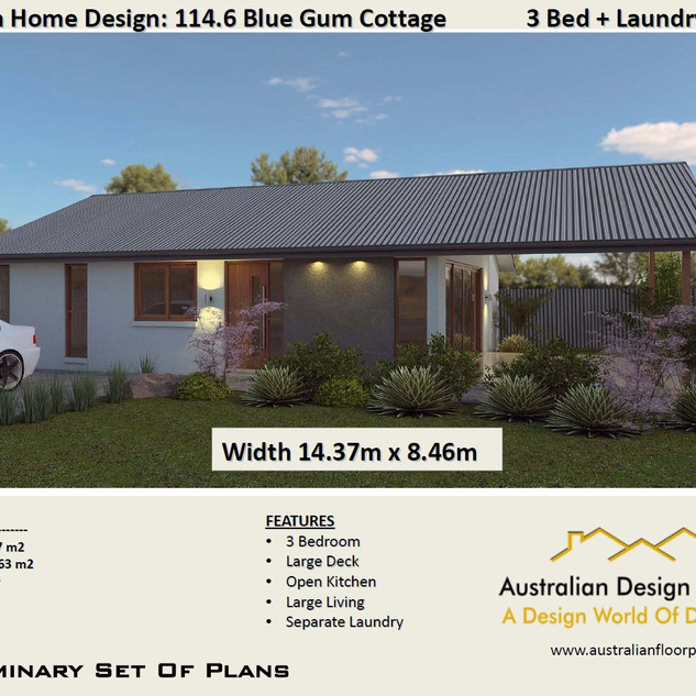 3 Bed House Plan114.6 Blue Gum-3 Bed Free House Plan Australia