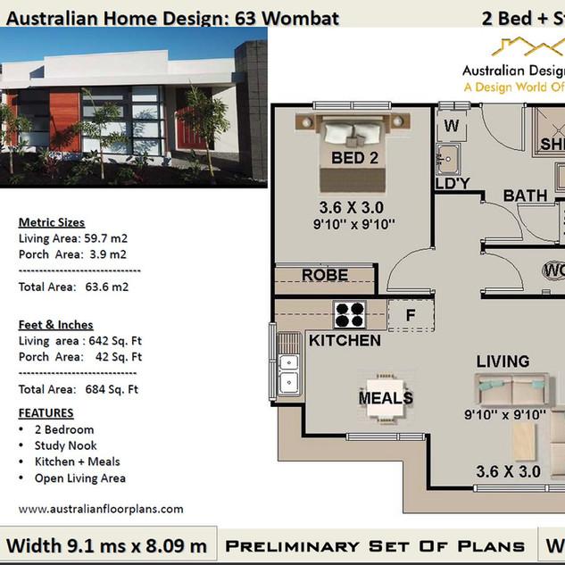 63 Wombat Modern Free 2 Bed House Plan Australia