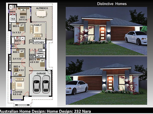 232NARA | Narrow Lot 5 Bed + Garage: 232.0 m2  | Preliminary House Plan Se