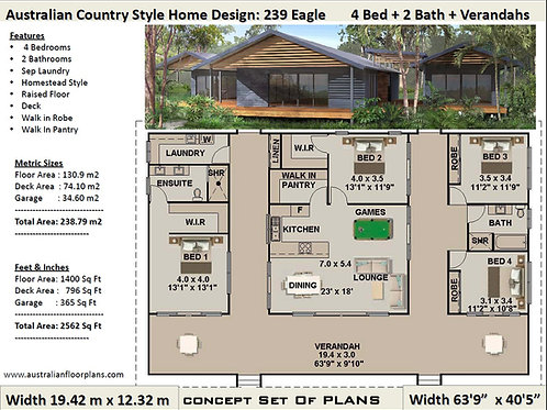 239 Eagle - 4 Bed Pole Home : 239.75 m2 | Preliminary House Plans