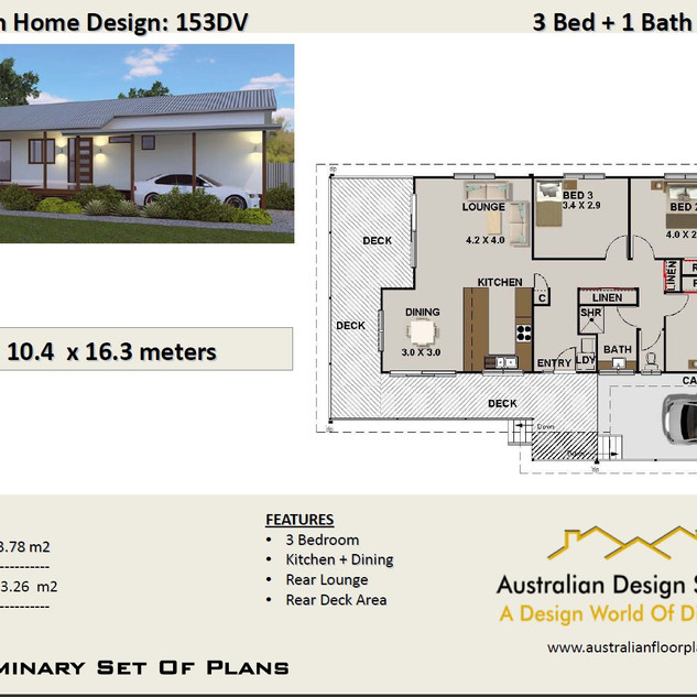 Country 3 Bedroom + Carport House Plan153