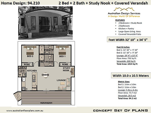 Exclusive Small House Plans Home 2 Bed + 2 Bath House Plan 94.210