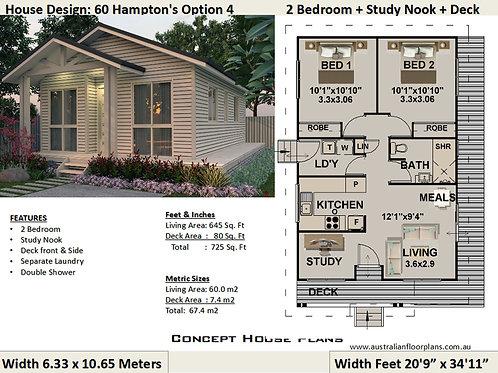 2 Bedroom Hampton's Option 4 : 60 m2- 645 sq feet | Preliminary House Plan Set