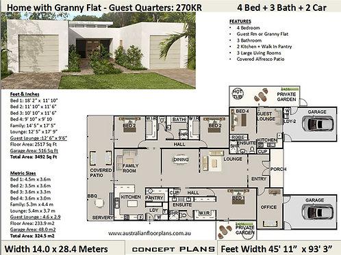 4 BEDROOM !  dual living house plans  |  270KR House Plan Set