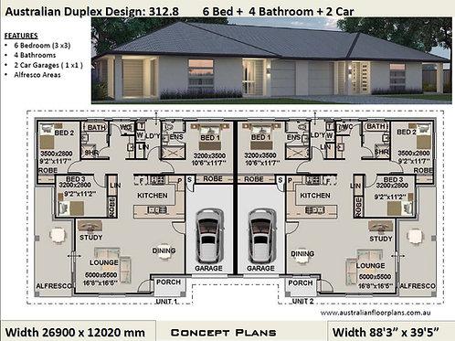 312.8 DU | 6 Bed + 4 Bath: 312.8 m2 (3366 Sq Foot) Corner Duplex Design Plans