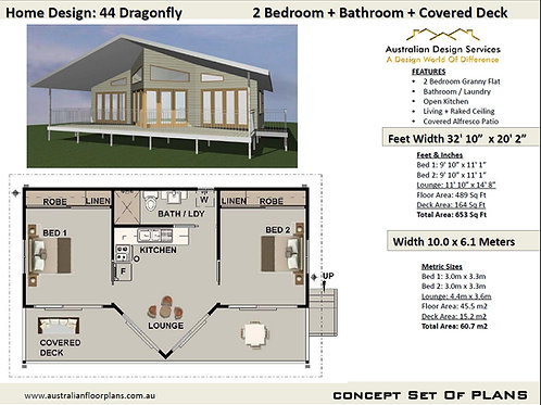 44 Dragonfly | 2 Bed House Plan- 44.0 m2 | Preliminary House Plan Set-4 Sale