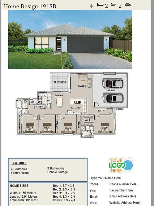 4 Bed Home Narrow Home  Design: 191SB