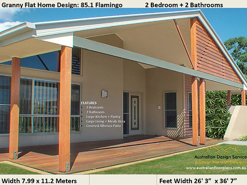 2 Bedroom house plan 60 SBH | Granny Flat General Arrangment House plans