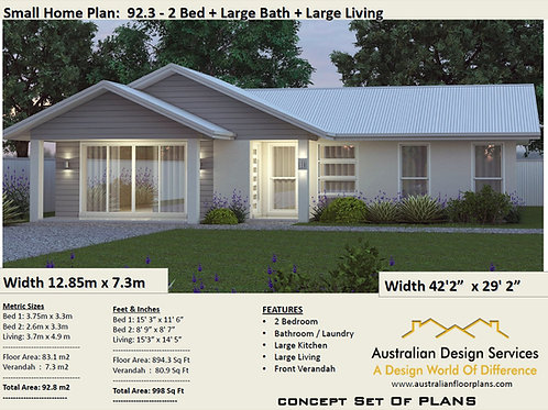 2 Bed 3 Bath House Plan: 92.8 m2 | Concept House Plans For Sale