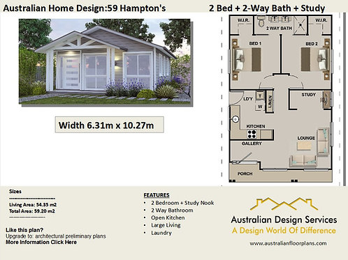 59 Hamptons | 2 Bed House Plan-59.20 m2 | Preliminary House Plan Set- 4 Sale