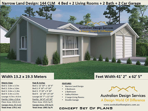 narrow lot house plans single story 4 Bed House Plan :179.0 m2 | House Plan Set