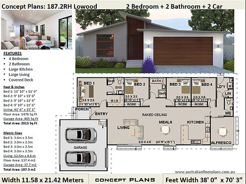 4 Bedroom House plan ! small lot home design | 187.2-Narrow House Plan Set