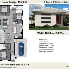 Modern 3 Bedroom House Plan155.3SB