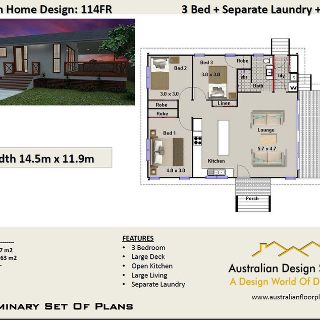 3 Bedroom House Plan114FR
