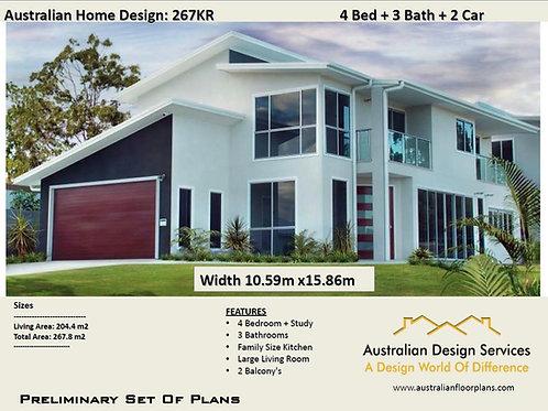 4 Bedroom kit home designs: 267.00  m2 | 267 KR House Plans