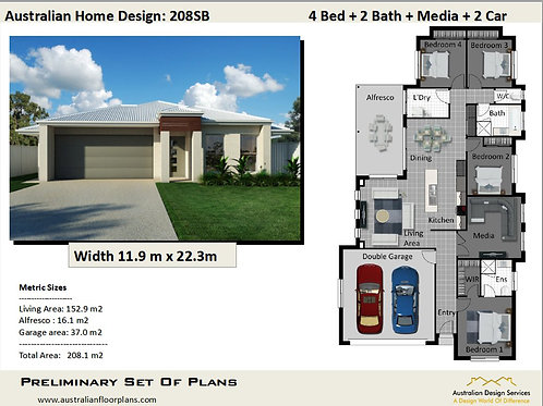 MODERN! 4 bedroom house plans one story  | 208 SB House Plan