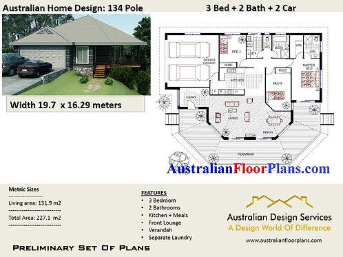 134 pole 3 Bed + Garage Pole Home Plan : 227.10 m2 | Preliminary House Plan Set