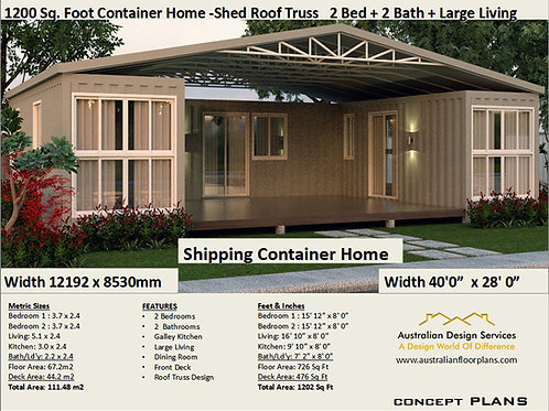 Shipping Container Home plans:1200 Truss Roof  | Concept Home Plan