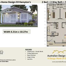 59 Hamptons Free 2 Bed House Plan Australia