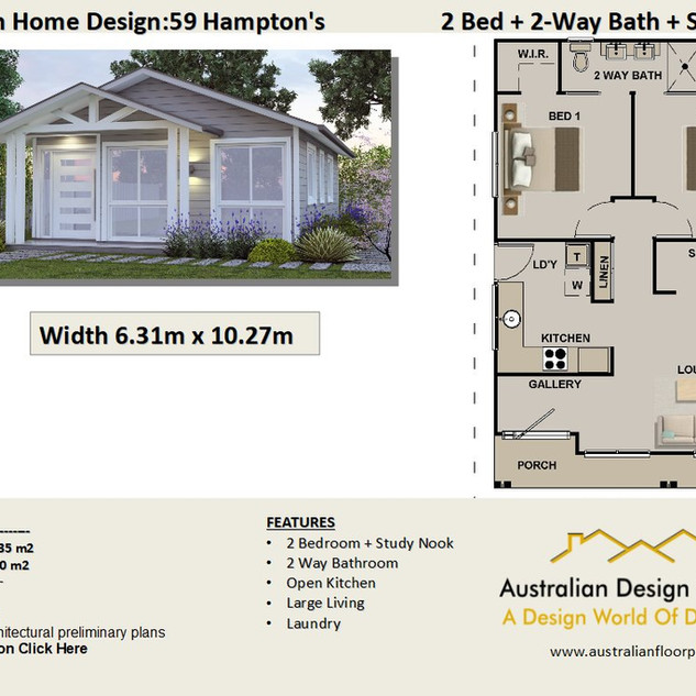 59 Hamptons Free 2 Bed House Plan Australia
