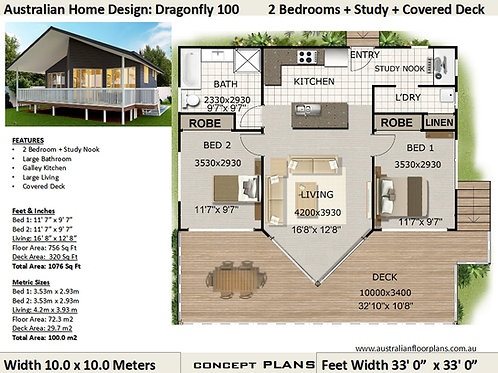 2 Bedroom House Plan :100 Dragonfly