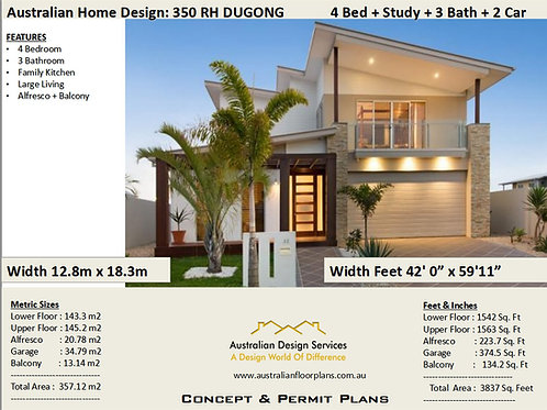 Best Selling  4 Bedroom + Study House Plans - : 358.0m2  3837 Sq Foot : 350RH