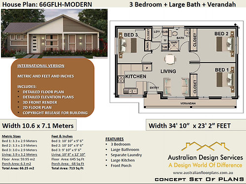 Small 3 Bedroom House Plan:66.5 m2 |66GRLH Preliminary House Plan Set