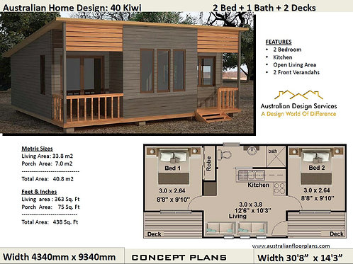 40 Kiwi | Small 2 Bed House Plan- 40.8 m2 | Preliminary House Plan Set- 4 Sale