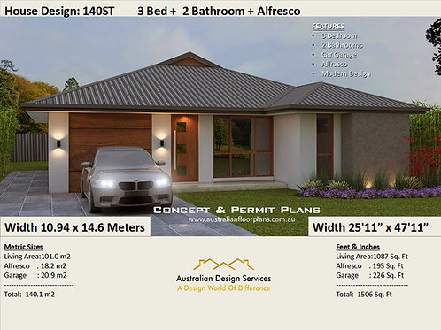 140ST 3 Bed + Garage Plan :140.1 m2 / 1506 Sq Foot | Preliminary House Plan Set