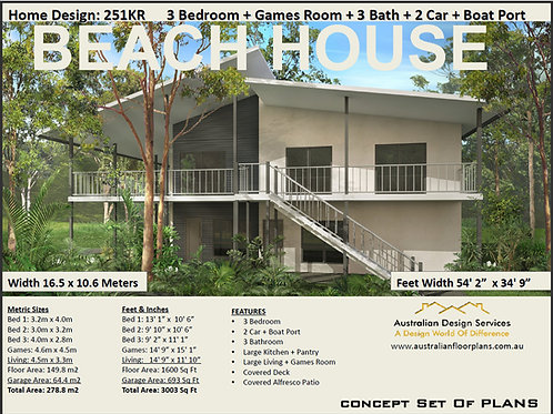 251KR Beach House| Sea Change 2 Level 3 Bed : 251.0 m2 | Preliminary House Plans